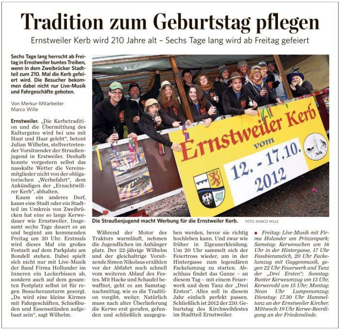 Ernstweiler Kerb - Presseartikel - Pfälzischer Merkur 09.10.2012
