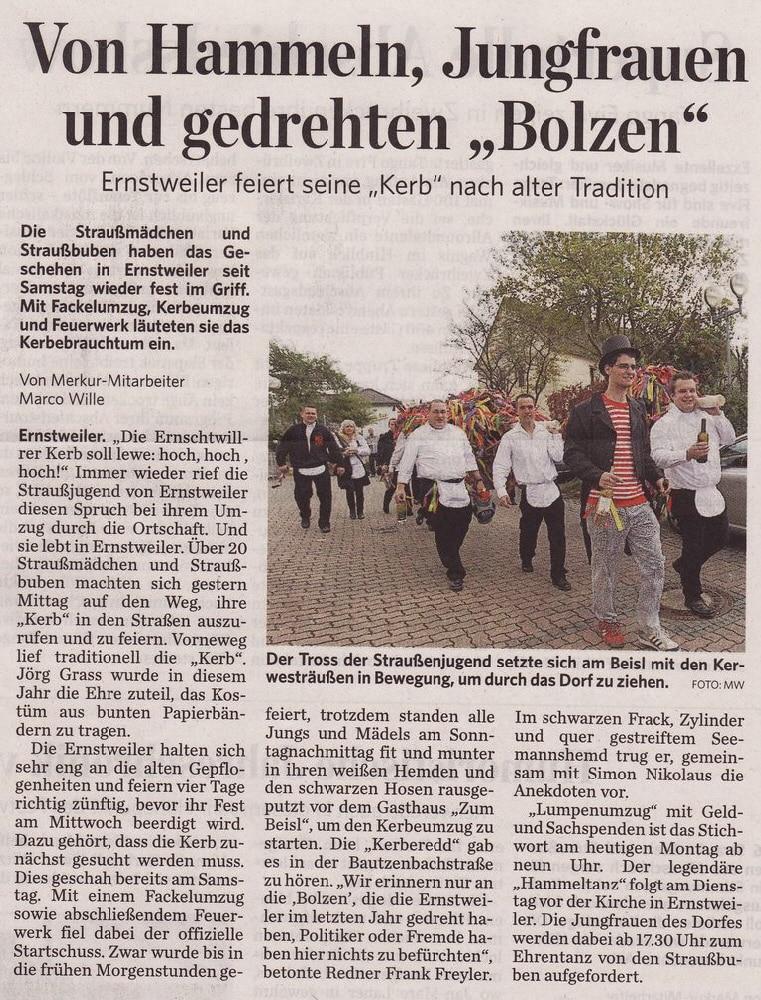 Ernstweiler Kerb - Presseartikel - Pfälzischer Merkur 10.10.2011
