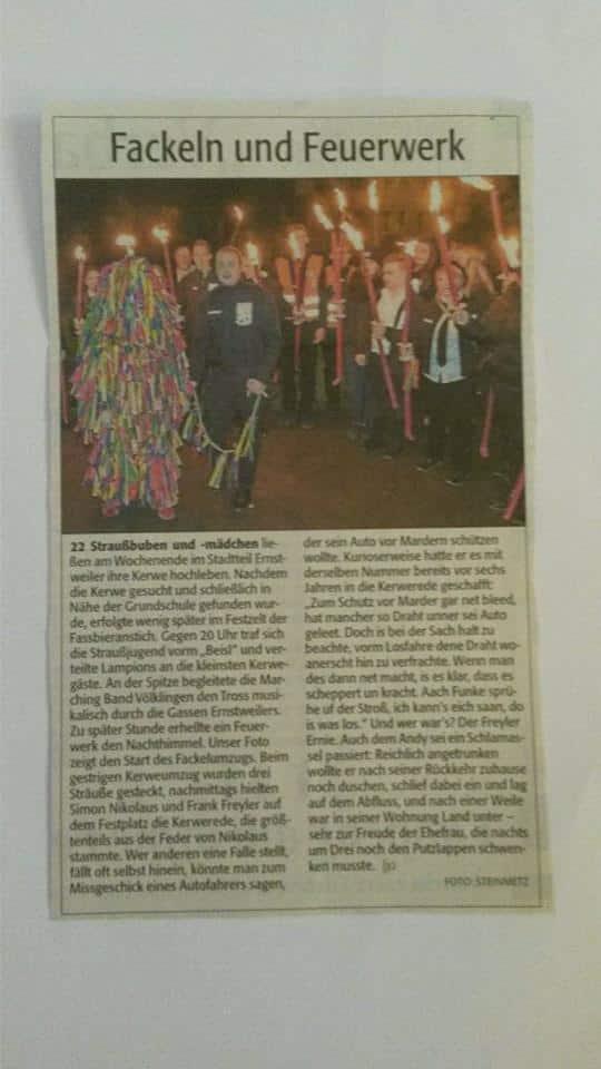 Ernstweiler Kerb - Presseartikel - Rheinpfalz 10.10.2016