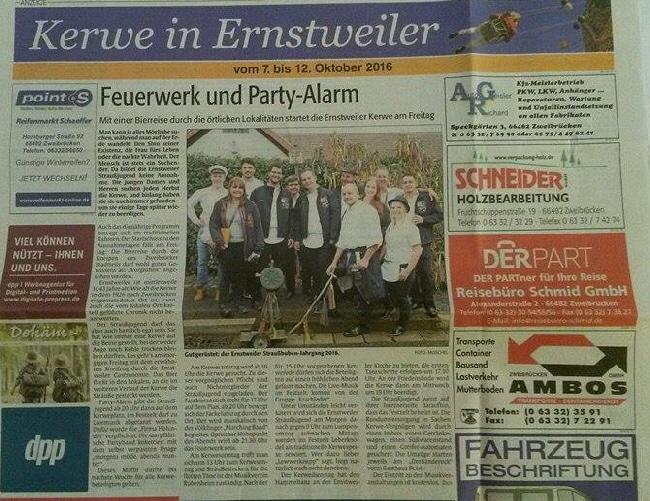 Ernstweiler Kerb - Presseartikel - Rheinpfalz 06.10.2016